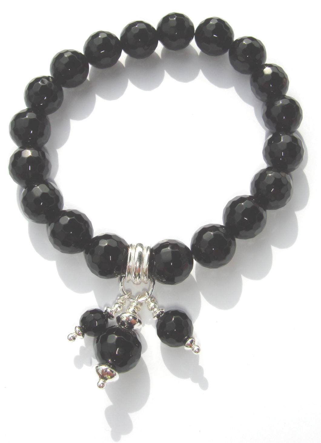 Freya Faceted Black Onyx Bead Bracelet with Triple Bead Drop