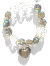 Load image into Gallery viewer, Flora Multi Sized Dark Champagne AB and Swarovski Faceted Crystals Bracelet with Heart Drop