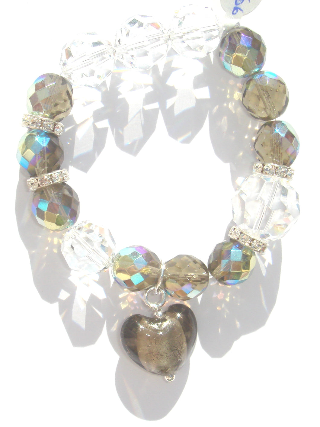 Flora Multi Sized Dark Champagne AB and Swarovski Faceted Crystals Bracelet with Heart Drop