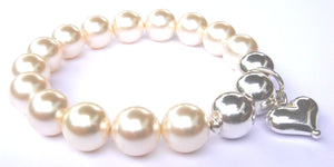 Lucy Swarovski® Crystal Pearl Bracelet with Triple Sterling Silver Balls and Heart Drop