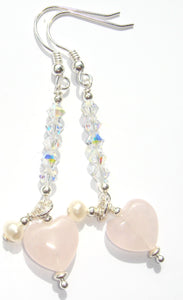 Freya Rose Quartz Heart with Pearl on Swarovski® AB Crystal Tower Earrings