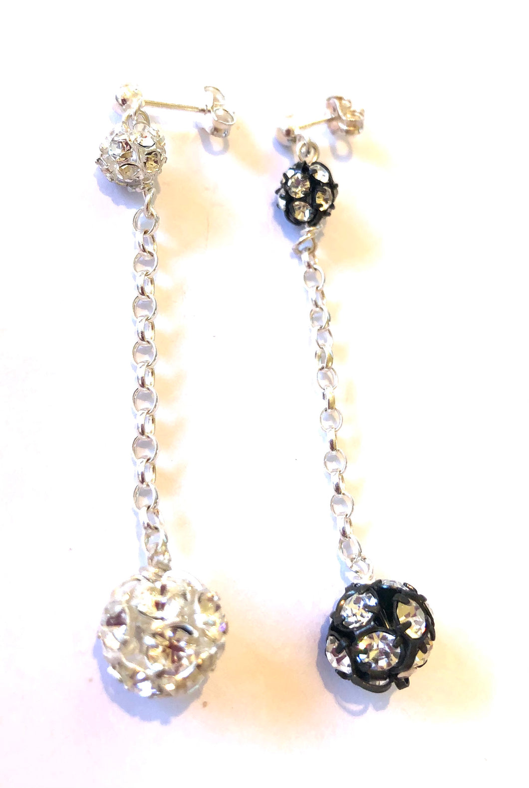 Flora 2 Crystal Balls Drop Earrings on Sterling Silver Chain
