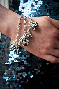 Flora 3-Row Multi-Sized Crystal Balls on Sterling Silver Chains Bracelet