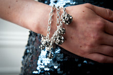 Load image into Gallery viewer, Flora 3-Row Multi-Sized Crystal Balls on Sterling Silver Chains Bracelet
