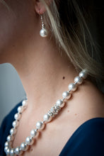 Load image into Gallery viewer, Sophie Swarovski® Crystal Pearl Earrings with Crystal Rondelle and Sterling Silver Ball
