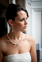 Load image into Gallery viewer, Lucy Pear Shaped Crystal Pearl Necklace with Sterling Silver Balls and Saucers