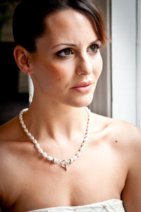Lucy Pear Shaped Crystal Pearl Necklace with Sterling Silver Balls and Saucers