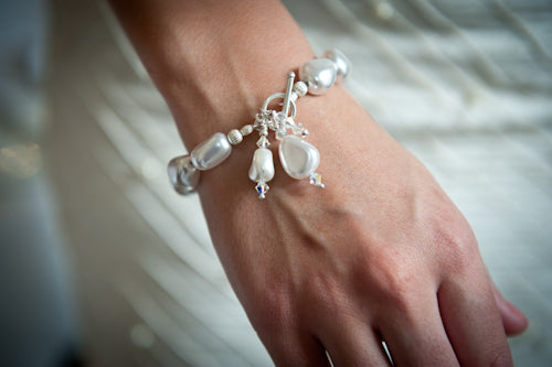 Rebecca Misshapen Pearl Bracelet with Pearl and Sterling Silver Bead Drop