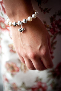 Sophie Swarovski® Crystal Pearl Bracelet with Trio of Sterling Silver Balls. Optional Heart Drop
