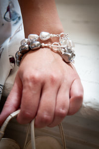 Rebecca Misshapen Pearl, Swarovski® Crystal and Ribbed Sterling Silver Ball Bracelet