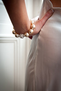 Rebecca X-Large Pearl Bracelet with Single Large SP Crystal Ball