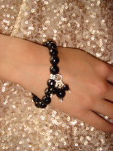 Load image into Gallery viewer, Freya Faceted Black Onyx Bead Bracelet with Triple Bead Drop