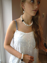 Load image into Gallery viewer, Rebecca X-Large Pearl Necklace with Single Black Onyx Ball