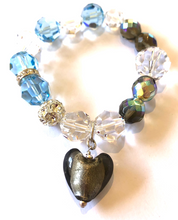 Load image into Gallery viewer, Flora Swarovski® Faceted Aquamarine and Dark Champagne AB Crystal Bracelet with Dark Champagne Heart Drop