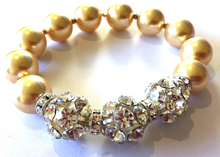 Load image into Gallery viewer, Discontinued Colour Sophie Swarovski® Crystal Pearl Bracelet with Triple Crystal Balls