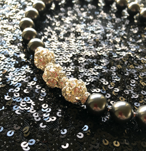 Load image into Gallery viewer, Rebecca X-Large Pearl Necklace with Triple Crystal Balls