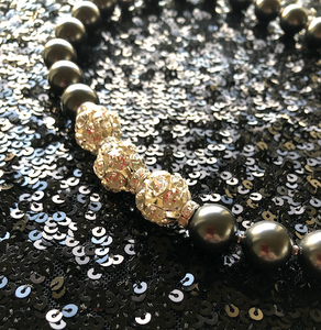 Rebecca X-Large Pearl Necklace with Triple Crystal Balls