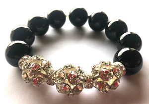 Rebecca Black Onyx X-Large Ball Bracelet with Triple Crystal Balls