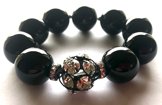 Rebecca Black Onyx XX-Large Ball Bracelet with Single Crystal Ball