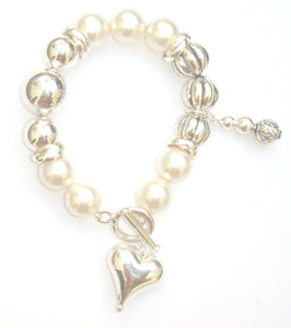Vivienne Sterling Silver Fancy Floral and Smooth Ball and Swarovski® Crystal Pearl Bracelet