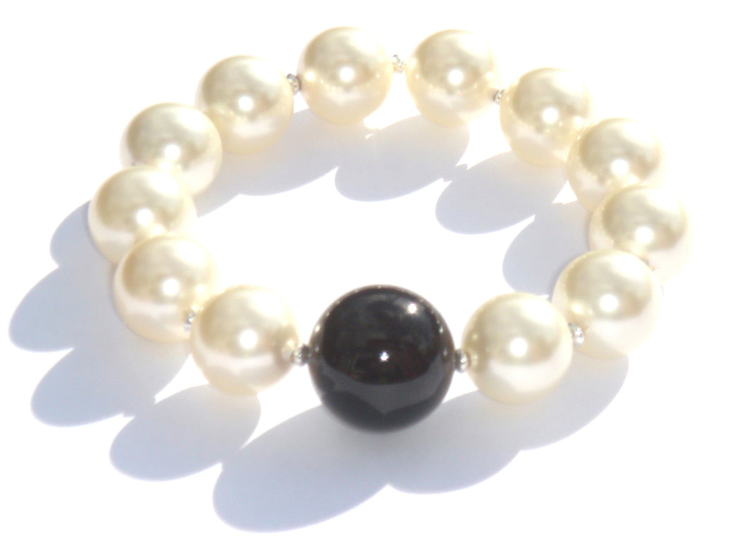 Sophie Swarovski® Crystal Pearl Bracelet with Single Black Onyx Ball