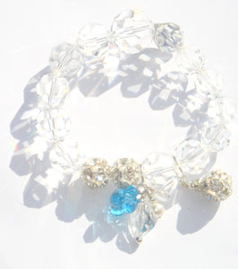 Flora Swarovski® Faceted Crystal and Crystal Ball Bracelet with Crystal Flower Drop