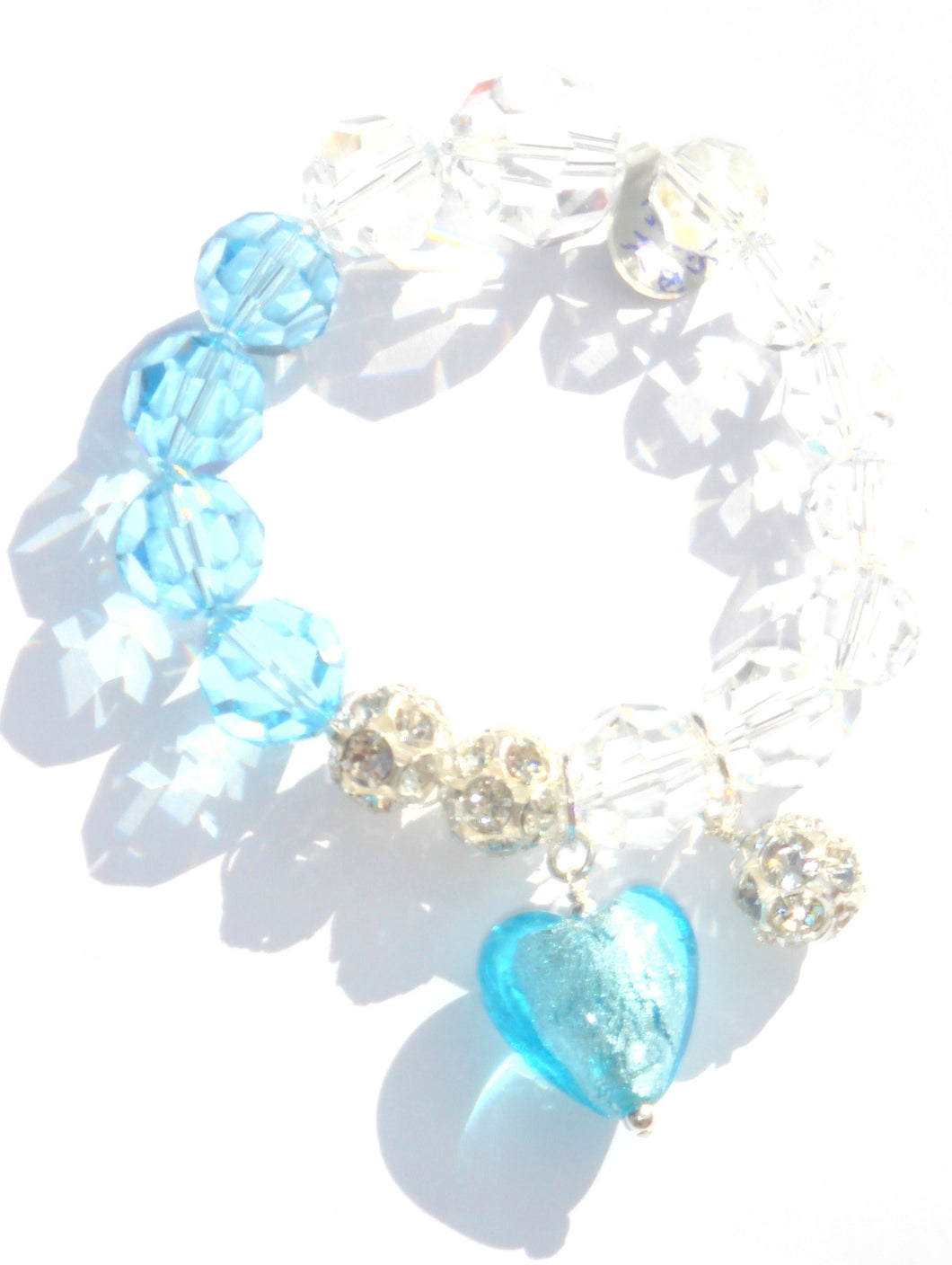 Flora Swarovski® Faceted Aquamarine and Clear Crystal Bracelet with Heart and Crystal Ball Drops