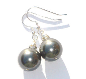 Rebecca X-Large Pearl with Crystal Rondelle Earrings