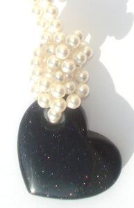 Lucy White Swarovski Crystal Pearl Necklace with Twinkling Dark Midnight Blue Goldstone Heart