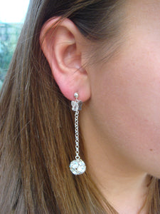 Flora Crystal Ball and Swarovski® Crystal Butterfly Drop Earrings