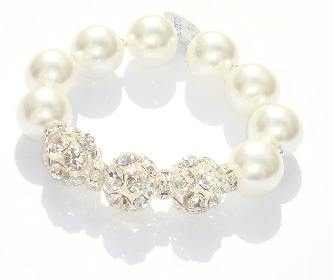 Rebecca X-Large Pearl Bracelet with Triple Crystal Balls