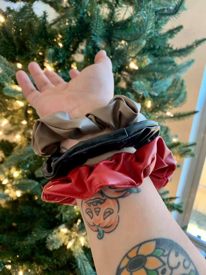 Faux Leather Scrunchies