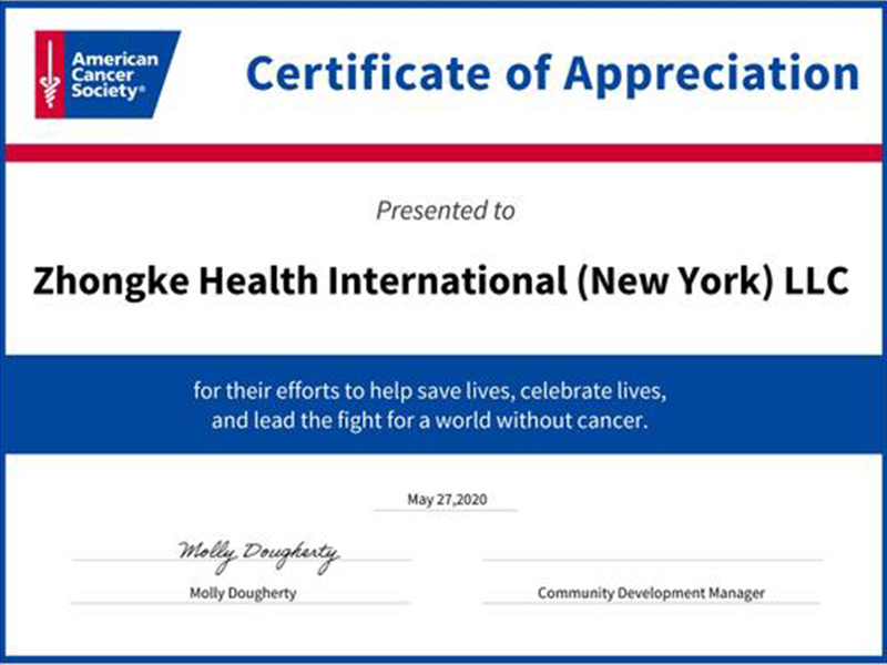 Zhongke was awarded Certificate of Appreciation from American Cancer Society