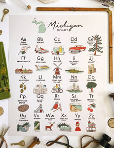 Michigan Alphabet Poster 16x20