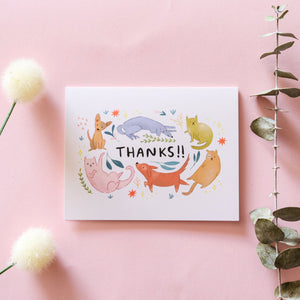 Thank You Dog and Cat Greeting Card - Blank Card