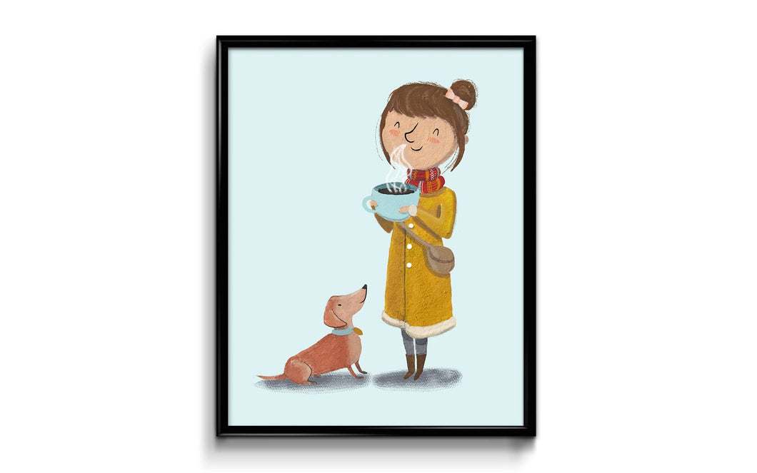 Coffee and Dachshund Art Print 8x10