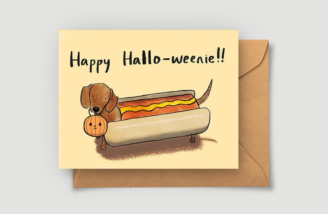 Happy Halloweenie Greeting Card - Blank Card