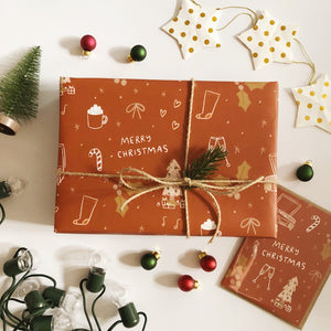 Cozy Rust Christmas Wrapping Paper 20x29