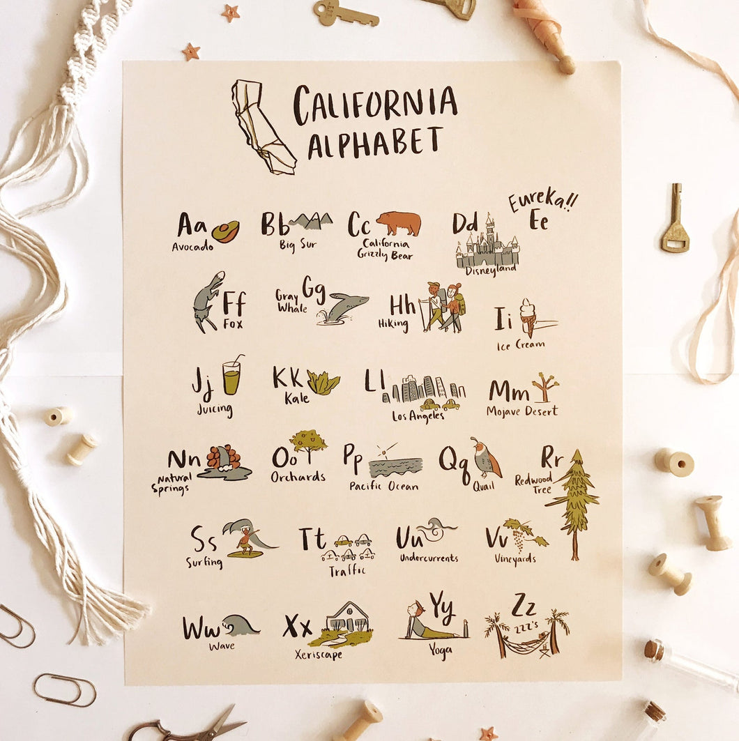California Alphabet Poster 16x20
