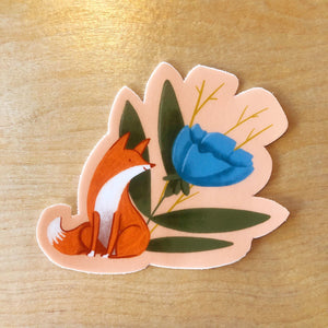 Fox and Flower Sticker 3x3