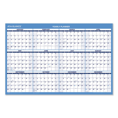 Horizontal Erasable Wall Planner, 36 X 24, Blue-white, 2021