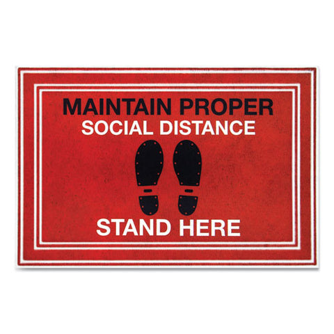 "Message Floor Mats, 24 X 36, Red-black, ""maintain Social Distance Stand Here"""