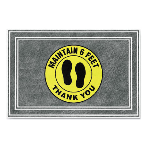 "Message Floor Mats, 24 X 36, Charcoal-yellow, ""maintain 6 Feet Thank You"""