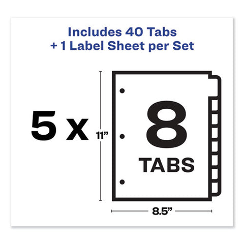 Print And Apply Index Maker Clear Label Dividers, 8 Color Tabs, Letter, 5 Sets