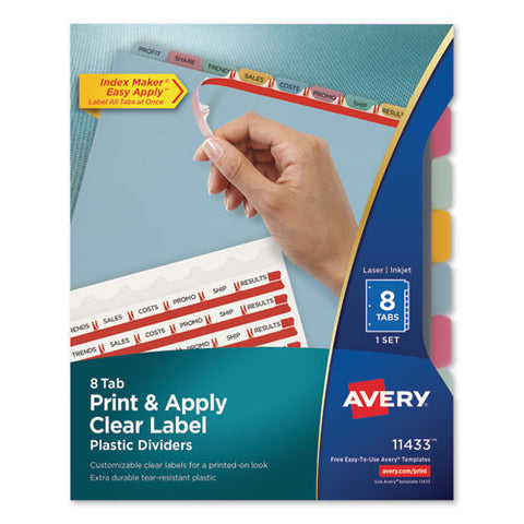 Print And Apply Index Maker Clear Label Plastic Dividers With Printable Label Strip, 8-tab, 11 X 8.5, Translucent, 1 Set