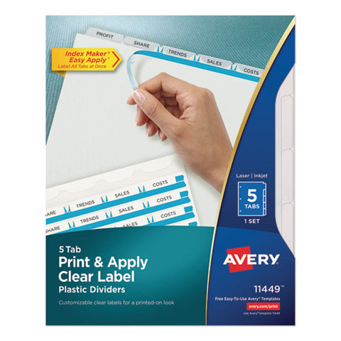 Print And Apply Index Maker Clear Label Plastic Dividers With Printable Label Strip, 5-tab, 11 X 8.5, Translucent, 1 Set