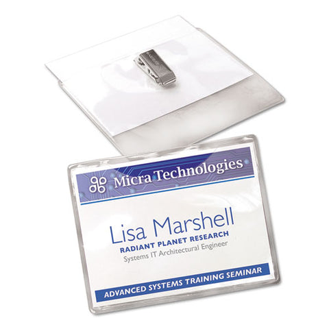 Clip-style Name Badge Holder With Laser-inkjet Insert, Top Load, 4 X 3, White, 40-box