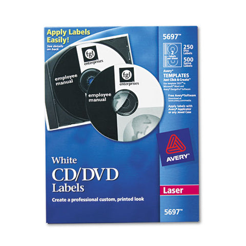 Laser Cd Labels, Matte White, 250-pack