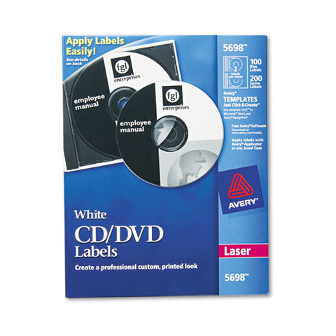 Laser Cd Labels, Matte White, 100-pack