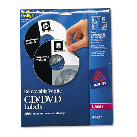 Laser Cd Labels, Matte White, 50-pack